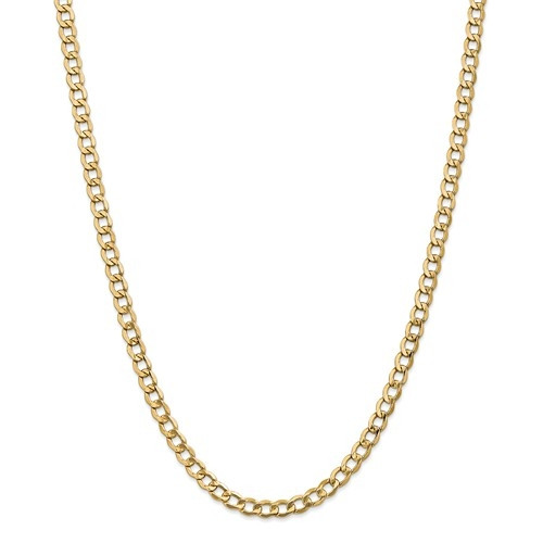 6.5mm Curb Chain   10K Yellow Gold   24 inch