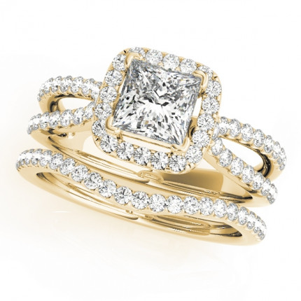 WS50552Y | Yellow Gold Halo Wedding Set. | Payroll Jewelry