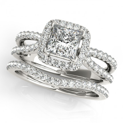 WS50552W | Halo Wedding Set Engagement Ring. | Payroll Jewelry