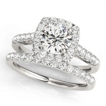 WS50576SET | Halo Wedding Set Engagement Ring. | Payroll Jewelry