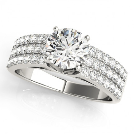 WS50625W-1/2   Side Stone Engagement Ring.   Payroll Jewelry
