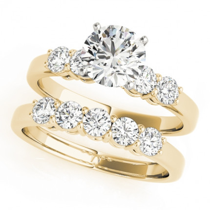 WS50633YSET10 | Yellow Gold Side Stone Wedding Set. | Payroll Jewelry