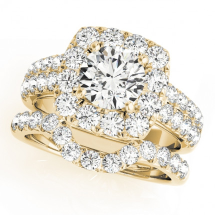 WS50657SETY | Yellow Gold Halo Wedding Set. | Payroll Jewelry
