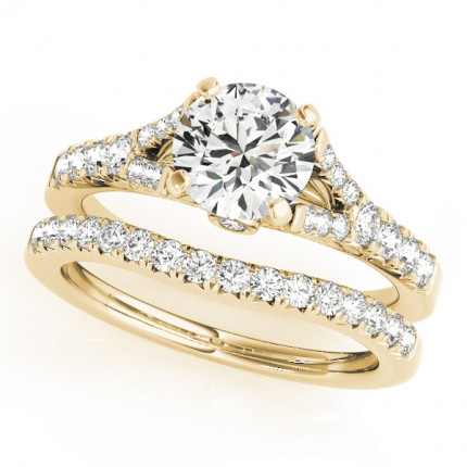 WS50668YSET | Yellow Gold Side Stone Wedding Set. | Payroll Jewelry