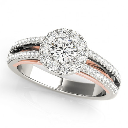 WS50867PW | Halo Engagement Ring. | Payroll Jewelry
