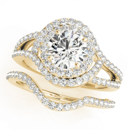WS50890Y | Yellow Gold Halo Wedding Set. | Payroll Jewelry
