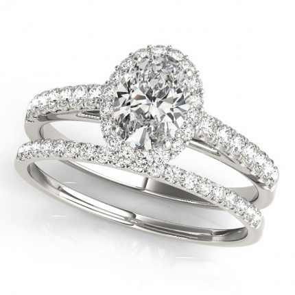 WS50917SET | Halo Wedding Set Engagement Ring. | Payroll Jewelry