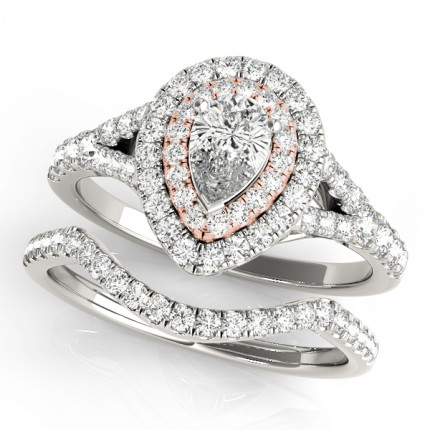 WS50950SET | Halo Wedding Set Engagement Ring. | Payroll Jewelry
