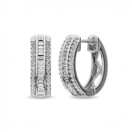 ER62897W | Diamond Hoops | Payroll Jewelry