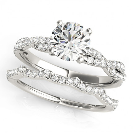 WS84774WSET | Side Stone Wedding Set. | Payroll Jewelry