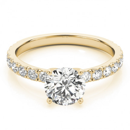 WS84842Y-1/3 | Yellow Gold Side Stone Engagement Ring. | Payroll Jewelry