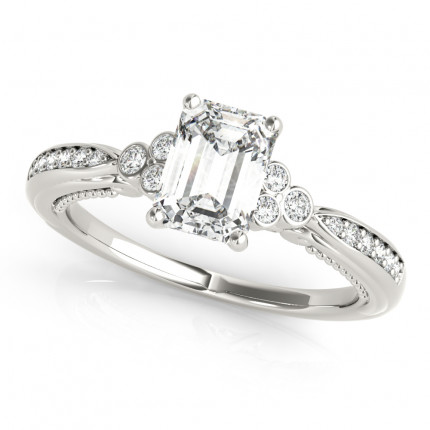 WS85106-1/2   Side Stone Emerald Engagement   Payroll Jewelry