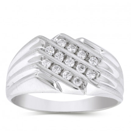 GR1257MW | White Gold Mens Ring. | Payroll Jewelry