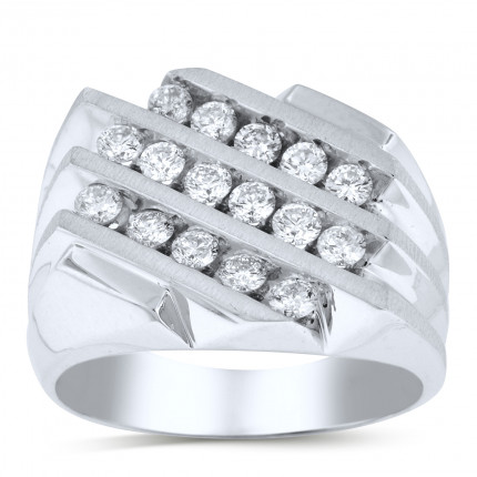 GR16616W | White Gold Mens Ring. | Payroll Jewelry