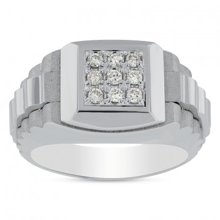 GR9411W | White Gold Mens Ring | Payroll Jewelry