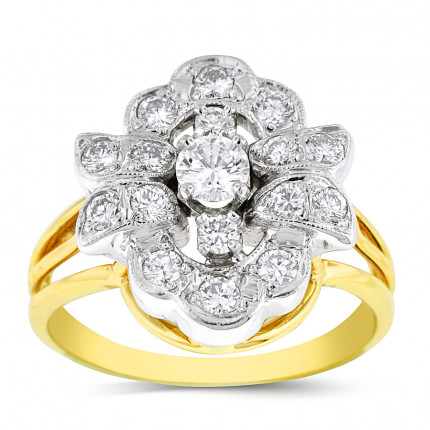 LR17506TT | Yellow Gold Ladies Ring | Payroll Jewelry