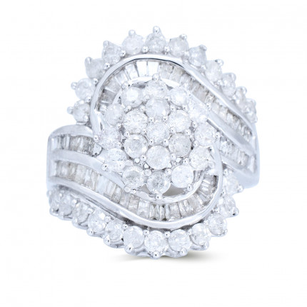 LR271W | Side Stone Ladies White Gold Ring | Payroll Jewelry