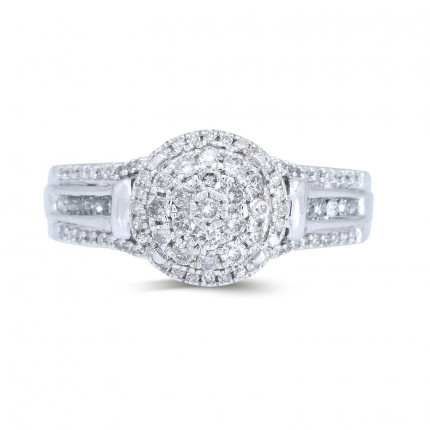 WLR202W | Halo Ladies Engagement Ring | Payroll Jewelry