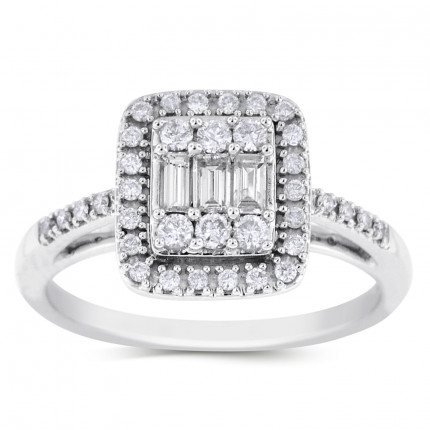 WLR41301W | Halo Ladies Engagement Ring | Payroll Jewelry
