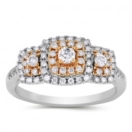 WLR71297PW   Three Stone Halo Engagement Ring   Payroll Jewelry