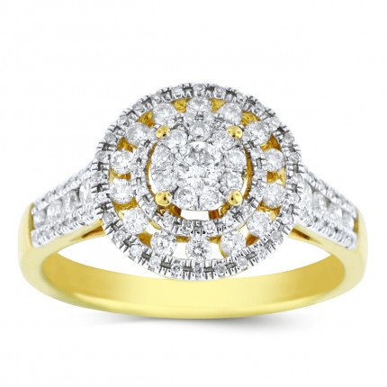 WLR95326Y | Halo Ladies Yellow Gold Engagement Ring | Payroll Jewelry