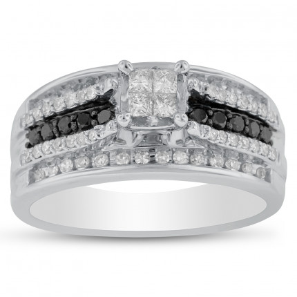 WS10056W | Side Stone Ladies White Gold Ring | Payroll Jewelry