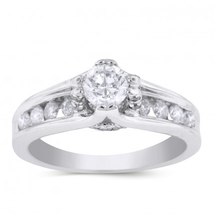 WS24506W | Side Stone Engagement Ring | Payroll Jewelry