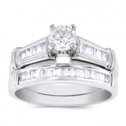 WS26776W | Side Stone Wedding Set | Payroll Jewelry