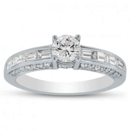 WS44525W | Side Stone Engagement Ring | Payroll Jewelry