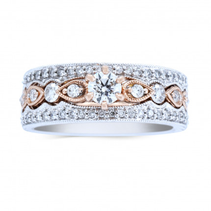 WS50308PW | Side Stone Wedding Set | Payroll Jewelry