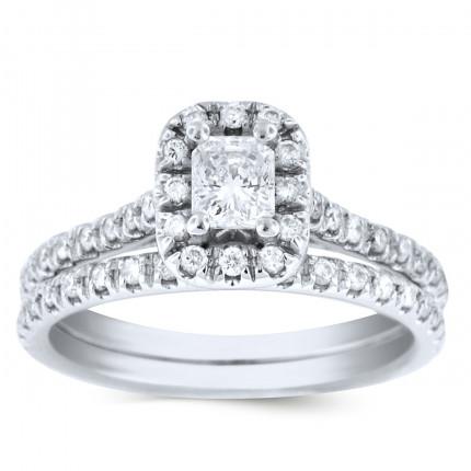 WS53524W | Halo Wedding Set Engagement Ring | Payroll Jewelry