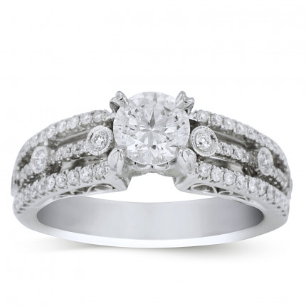 WS62975W | Side Stone Engagement Ring | Payroll Jewelry