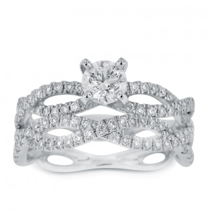 WS80755W | Side Stone Wedding Set | Payroll Jewelry