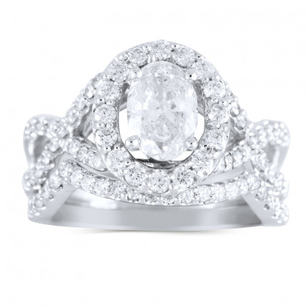 WS97106W | Halo Wedding Set Engagement Ring | Payroll Jewelry