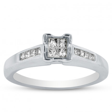 WSF03740W | Side Stone Engagement Ring | Payroll Jewelry