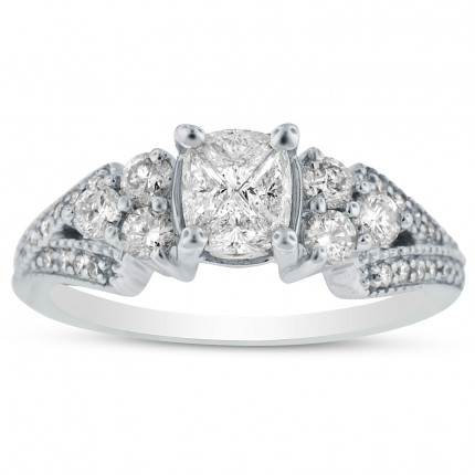 WSF71138W | Side Stone Engagement Ring | Payroll Jewelry