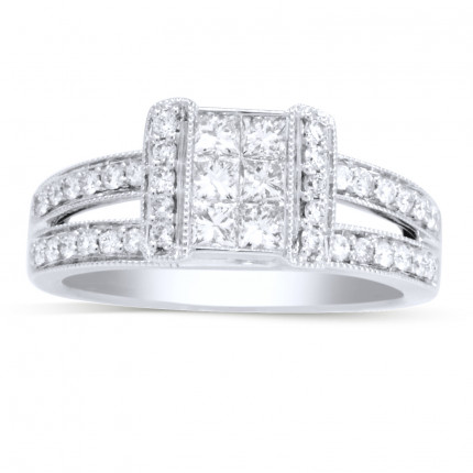 WSF88446W | Side Stone Engagement Ring | Payroll Jewelry