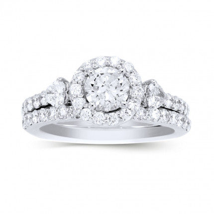 BR4543W | Halo Wedding Set Engagement Ring | Payroll Jewelry