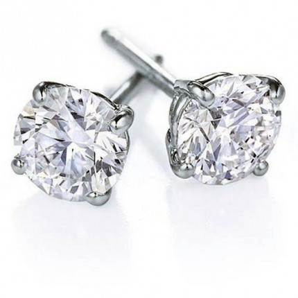 ER425W | White Gold Diamond Ear Studs | Payroll Jewelry