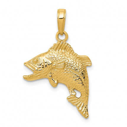 K3045 | Gold Jumping Bass Fish Pendant | Payroll Jewelry