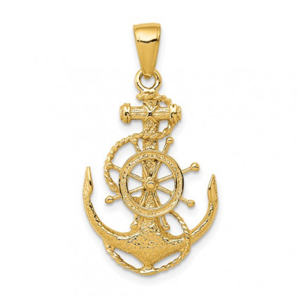 K3080Y | Yellow Gold Anchor with Wheel Pendant | Payroll Jewelry