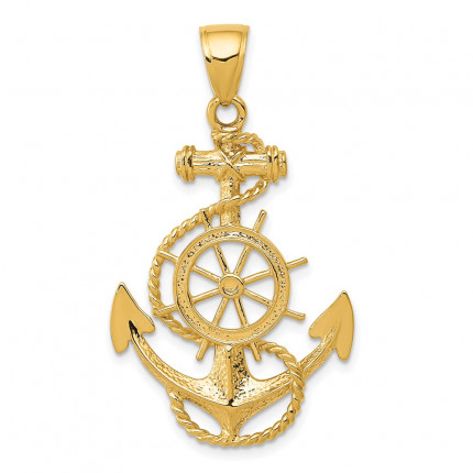 K3083 | Gold Anchor and Wheel Pendant | Payroll Jewelry