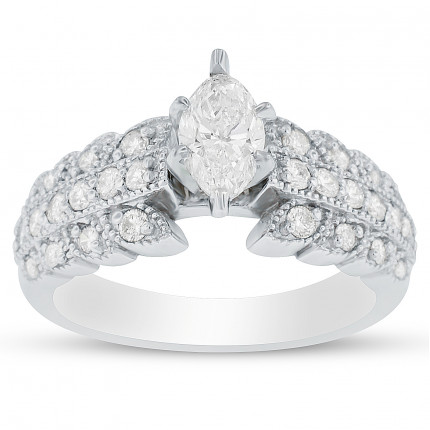 RM5068 | Side Stone Engagement Ring | Payroll Jewelry