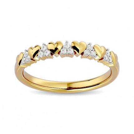 WB62783Y | Gold Heart and Diamond Band | Payroll Jewelry