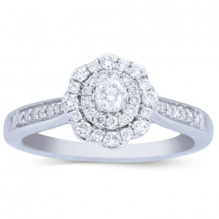 WLR266W | Payroll Jewelry | Halo Engagement Ring