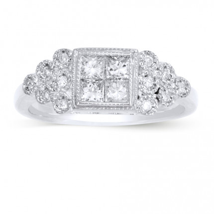 WLR290165W | Side Stone Engagement Ring | Payroll Jewelry