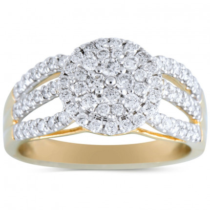 WLR519Y | Halo Ladies Yellow Gold Engagement Ring | Payroll Jewelry