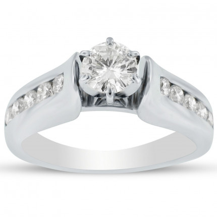 WS10350W   Side Stone Engagement Ring   Payroll Jewelry