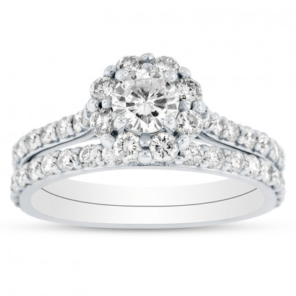 WS121877W | Halo Wedding Set Engagement Ring | Payroll Jewelry