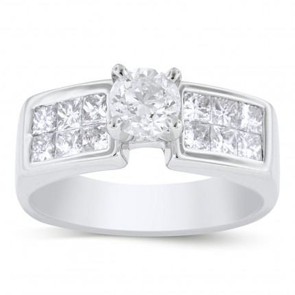 WS12811W | Side Stone Engagement Ring | Payroll Jewelry